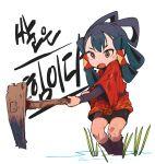 1girl blue_hair boots brown_eyes ddari fang green_hair highres hoe holding japanese_clothes kimono long_sleeves looking_at_viewer multicolored_hair open_mouth red_kimono sakuna-hime short_kimono shorts solo standing sweat tensui_no_sakuna-hime two-tone_hair