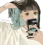 1girl adjusting_hair aqua_hair bangs barcode black_eyes black_hair black_nails blunt_bangs cellphone colored_inner_hair commentary_request covered_mouth covering_mouth darico eyebrows eyeshadow fingernails hand_in_hair hands hands_up highres holding holding_phone jewelry looking_at_viewer makeup medium_hair multicolored_hair nail_polish nostrils number original phone piercing shirt signature simple_background smartphone solo star_(symbol) star_tattoo sticker symbol_commentary tattoo two-tone_hair upper_body white_background white_shirt yellow_eyeshadow