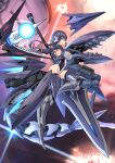 1girl alice_gear_aegis black_hair blue_eyes braid breasts covered_navel energy_ball explosion flying from_side glasses glowing glowing_eye highres holding holding_lance holding_polearm holding_weapon huge_weapon iinuma_toshinori lance leotard looking_at_viewer mecha_musume medium_breasts open_mouth original polearm red_eyes robot science_fiction sharp_teeth skin_tight solo space space_station teeth weapon