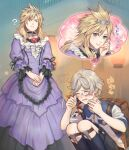 2boys ? backpack bag blonde_hair blush chadley_(ff7) closed_eyes cloud_strife crossdressing dress final_fantasy final_fantasy_vii final_fantasy_vii_remake frilled_dress frills green_eyes heart imagining looking_at_another monocle multiple_boys ohse open_mouth purple_dress silver_hair smile sparkle spiky_hair squatting thought_bubble tiara translation_request