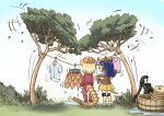 2girls animal_ears armadillo_ears armadillo_tail armor blonde_hair blue_hair chibi clothes clothesline commentary_request day dripping drying drying_clothes elbow_pads facing_away from_behind full_body giant_armadillo_(kemono_friends) giant_pangolin_(kemono_friends) grass hanging hat jacket kemono_friends knee_pads laundry laundry_basket long_hair medium_hair miniskirt multiple_girls outdoors ozora_tetsu pangolin_ears pangolin_tail pants pleated_skirt shirt shoes short_sleeves shoulder_armor skirt standing sweater_vest tail track_jacket track_pants track_suit tree water wet wet_clothes