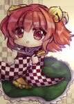1girl apron bangs bell book checkered checkered_background checkered_shirt eyebrows_visible_through_hair frilled_skirt frills full_body green_skirt hair_bell hair_ornament highres holding holding_book jingle_bell long_sleeves looking_at_viewer medium_hair motoori_kosuzu open_mouth orange_eyes orange_hair shirt skirt smile solo touhou two_side_up unime_seaflower wide_sleeves yellow_apron