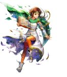 1girl asatani_tomoyo bangs book boots bracelet bridal_gauntlets brown_eyes brown_hair brown_legwear cape circlet clenched_teeth dress fire_emblem fire_emblem:_thracia_776 fire_emblem_heroes full_body gold_trim green_cape highres holding jewelry long_hair long_sleeves looking_away miranda_(fire_emblem) official_art parted_lips shiny shiny_hair teeth thigh-highs torn_cape torn_clothes torn_legwear torn_sleeves transparent_background white_footwear