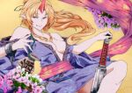 1girl :p alternate_costume alternate_hairstyle bare_arms bare_shoulders breasts chain club cuffs floating_hair flower hands_up high_ponytail horns hoshiguma_yuugi japanese_clothes kanabou kimono knee_up leaning_back long_hair looking_at_viewer medium_breasts off_shoulder oni orange_eyes orange_hair pointy_ears potato_pot sash seductive_smile shackles shiny shiny_hair sidelocks single_horn smile solo tongue tongue_out touhou weapon