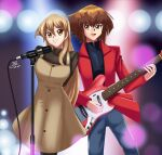 1boy 1girl arms_behind_back blonde_hair brown_eyes brown_hair brown_shirt brown_skirt concert couple dancing deviantart dress guitar happy long_hair microphone multicolored_hair red_jacket sincity2100 singing skirt spotlight tenjouin_asuka yellow_eyes yu-gi-oh! yuu-gi-ou yuu-gi-ou_gx yuuki_juudai