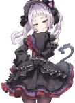 1girl animal_ears athenawyrm bangs black_dress black_headwear black_legwear blunt_bangs blush breasts cat_ears closed_mouth commentary_request cowboy_shot dress frilled_dress frilled_hairband frilled_sleeves frills gothic_lolita hair_intakes hair_ornament hairband hand_on_hip hand_up hat hololive lolita_fashion lolita_hairband long_hair long_sleeves looking_at_viewer murasaki_shion pantyhose purple_dress red_dress red_eyes silver_hair simple_background sleeves_past_fingers sleeves_past_wrists smile solo twintails virtual_youtuber white_background