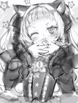1girl animal_ears bangs blunt_bangs blush cat_ears dress fingernails gothic_lolita greyscale hands_over_own_mouth hands_up highres hololive lolita_fashion long_hair long_sleeves looking_at_viewer monochrome murasaki_shion nanashi_(nlo) official_alternate_costume one_eye_closed smile solo upper_body