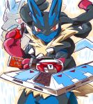candy chocolate chocolate_bar crossover duel_disk eating food gen_4_pokemon looking_at_viewer lucario mega_lucario mega_pokemon no_humans pokemon pokemon_(creature) red_eyes sobatya solo yu-gi-oh!