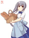 1girl alternate_costume apron artist_logo basket blue_apron blue_bow blue_neckwear blue_skirt blush bow bowtie bread checkered_apron closed_mouth dated employee_uniform eyebrows_visible_through_hair food gingham gingham_apron grey_hair high-waist_skirt highres holding holding_basket kanon_(kurogane_knights) kantai_collection kasumi_(kantai_collection) kobeya kobeya_uniform light_smile long_hair looking_at_viewer plaid plaid_apron pleated_shirt shirt short_sleeves side_ponytail signature silver_hair simple_background skirt solo uniform waitress white_background white_shirt yellow_eyes