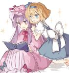 2girls alice_margatroid alice_margatroid_(pc-98) blonde_hair blue_bow blue_dress blue_eyes blue_hairband blue_ribbon book bow commentary_request dress feet_out_of_frame hairband hat hat_ribbon kneeling mob_cap multiple_girls neck_ribbon open_mouth patchouli_knowledge pink_bow pink_dress pink_headwear pink_ribbon purple_hair reading red_neckwear ribbon shirt short_sleeves sitting smile sorani_(kaeru0768) sparkle striped striped_dress touhou touhou_(pc-98) violet_eyes white_background white_bow white_shirt wrist_cuffs