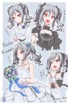 1girl :o absurdres artist_name bare_shoulders black_dress black_ribbon blouse blue_ribbon blush border bouquet character_name commentary_request dated dress drill_hair flower gloves grey_background grey_hair hair_ribbon highres holding holding_bouquet idolmaster idolmaster_cinderella_girls kanzaki_ranko medium_hair multiple_views red_eyes ribbon smile strapless strapless_dress tatami_(loop) translation_request twin_drills twintails wedding_dress white_blouse white_border white_dress white_gloves