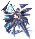 1girl alice_gear_aegis black_hair blue_eyes braid breasts covered_navel energy_ball flying from_side glasses glowing glowing_eye highres holding holding_lance holding_polearm holding_weapon huge_weapon iinuma_toshinori lance leotard looking_at_viewer mecha_musume medium_breasts open_mouth original polearm red_eyes robot science_fiction sharp_teeth skin_tight solo teeth weapon white_background