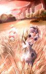 2girls :d braid crown_braid dutch_angle field grey_eyes highres holding juliet_sleeves long_sleeves melia_antiqua mercury_xeno multiple_girls nene_(xenoblade) nopon open_mouth outdoors puffy_sleeves silver_hair smile twilight wheat wheat_field xenoblade_chronicles xenoblade_chronicles:_future_connected xenoblade_chronicles_(series)