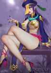 1girl ariverkao between_breasts blurry blurry_background breasts fingernails hat high_heels jewelry large_breasts long_hair long_sleeves looking_at_viewer necklace ofuda original pelvic_curtain pointy_ears purple_background purple_hair revealing_clothes sharp_fingernails shrug_(clothing) sitting solo yellow_eyes