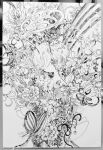 1other androgynous antennae bug butterfly flower graphite_(medium) greyscale hair_over_one_eye head_tilt insect monochrome no_mouth original photo_(medium) shima_(wansyon144) short_hair solo tagme traditional_media