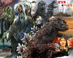 1girl black_hair character_request city commentary_request destruction facial_mark godzilla godzilla_(series) hand_up hedorah kaijuu kamisimo_90 lightning monster ocean open_mouth outdoors red_eyes sky smoke upper_teeth water