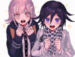 1boy 1girl backpack bag bangs blush checkered checkered_neckwear checkered_scarf clenched_hands danganronpa eyebrows_visible_through_hair hair_between_eyes hair_ornament highres hood hood_down hooded_jacket hoodie jacket long_sleeves nanami_chiaki new_danganronpa_v3 open_mouth ouma_kokichi pink_eyes pink_hair purple_hair renshu_usodayo scarf simple_background sparkle super_danganronpa_2 upper_body violet_eyes white_background