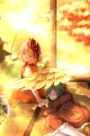 2girls absurdres animal_ears architecture autumn_leaves besuteia bird bird_wings blonde_hair blurry blurry_background blush brown_dress chick commentary_request dress east_asian_architecture feathered_wings green_hair highres kasodani_kyouko long_sleeves looking_at_viewer looking_back lying multicolored_hair multiple_girls niwatari_kutaka on_side open_mouth outdoors puffy_short_sleeves puffy_sleeves redhead short_hair short_sleeves sitting sleeping smile tail tatami touhou twilight two-tone_dress two-tone_hair veranda wings yellow_eyes yellow_sky