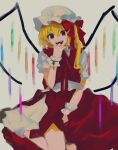 1girl :d between_legs blonde_hair bow commentary_request crystal eyebrows_behind_hair flandre_scarlet gotagotay hair_between_eyes hair_bow hand_between_legs hand_to_own_mouth hat highres looking_at_viewer mob_cap one_side_up open_mouth petticoat puffy_short_sleeves puffy_sleeves red_bow red_eyes red_neckwear red_ribbon red_skirt red_vest ribbon shirt short_hair short_sleeves simple_background sitting skirt smile socks solo teeth touhou vest white_background white_headwear white_legwear white_shirt wings wrist_cuffs yokozuwari