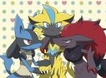 :< arm_around_neck blue_eyes claws e_no_n_old fang gen_4_pokemon gen_5_pokemon gen_7_pokemon green_eyes holding_hand leaning_on_person lucario mythical_pokemon open_mouth pokemon red_eyes redhead sandwiched smile sweatdrop yellow_fur zeraora zoroark