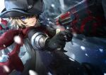 1boy aiming billy_the_kid_(fate/grand_order) black_gloves black_headwear blonde_hair coat cowboy cowboy_hat fate/grand_order fate_(series) gloves glowing glowing_weapon gun handgun hat holding holding_weapon jacket liu_liu looking_at_viewer male_focus messy_hair pistol red_scarf scarf smile snowing vest weapon western winter wrist_guards