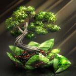 bonsai cluseller commentary_request crystal emerald_(gemstone) green_theme grey_background light_particles light_rays no_humans original partial_commentary reflection rock shiny simple_background still_life tree