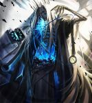 1other blue_eyes blue_fire book chain chain_belt crown fire fur_trim glowing glowing_eyes holding holding_book lich long_hair monster multiple_wings o-ring olys open_book original ribs skeleton solo torn torn_clothes very_long_hair white_hair wings