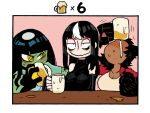 3girls @_@ alcohol animal_ears bare_shoulders beer beer_mug black_hair border breasts counter cup detached_sleeves drinking drunk green_shirt green_skin highres jacket jitome large_breasts long_hair long_sleeves looking_at_viewer monster_girl mug multicolored_hair multiple_girls neneko_(rariatto) noss_(rariatto) open_clothes open_jacket original rariatto_(ganguri) red_jacket rudi_(rariatto) sanpaku sharp_teeth shirt short_sleeves sleeves_past_wrists smile streaked_hair teeth wavy_mouth white_border white_hair white_shirt wolf_ears yellow_eyes