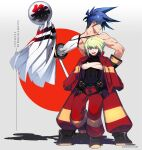 2boys :d ;d blue_hair boots from_behind full_body galo_thymos green_hair highres holding instanttnoodle jacket lio_fotia looking_back male_focus multiple_boys muscle one_eye_closed open_mouth pants promare red_jacket red_pants smile spiky_hair standing standing_on_one_leg violet_eyes