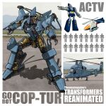 aircraft arm_cannon chain_gun character_name cop-tur english_commentary gobots helicopter highres mecha military multiple_views no_humans one-eyed open_hands orange_eyes pointing propeller red_eyes redesign silhouette theamazingspino transformers weapon