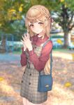 1girl autumn_leaves bag bangs blonde_hair braid closed_mouth collared_shirt commentary_request dress dress_shirt eyebrows_visible_through_hair falling_leaves fingers_together french_braid frills hair_ribbon handbag highres leaf long_hair looking_at_viewer nail_polish original outdoors plaid plaid_dress red_nails red_shirt ribbon shirt smile tree usamochi. yellow_eyes