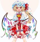 1girl blonde_hair bow crystal fangs flandre_scarlet frilled_shirt_collar frilled_skirt frilled_sleeves frills hat hat_ribbon highres mob_cap one_side_up open_mouth puffy_short_sleeves puffy_sleeves red_bow red_eyes red_ribbon red_skirt red_vest ribbon shirt short_hair short_sleeves simple_background skirt smile solo touhou vest wabun white_shirt wings
