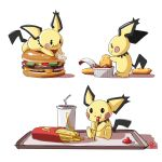 animal_ears automatic_giraffe black_eyes blush chicken_nuggets dated dipping drinking_straw eating english_commentary fast_food food french_fries gen_2_pokemon hamburger ketchup lying mcdonald's mouse_ears multiple_views no_humans on_stomach pichu pokemon pokemon_(creature) sitting smile standing white_background