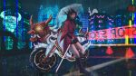 1girl backwards_text bare_legs black_footwear black_hair boots building city city_lights cityscape cross-laced_footwear cyberpunk english_text ground_vehicle holding holding_umbrella horns japanese_clothes kimono knee_boots lace-up_boots lefthandchi long_hair motor_vehicle motorcycle night night_sky obi oni oni_horns original rain red_kimono sash scenery sky skyline skyscraper solo sword tagme transparent transparent_umbrella umbrella water_drop weapon