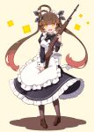 1girl :d alternate_costume antenna_hair apron bangs battle_rifle black_bow black_dress bow breasts brown_background brown_footwear brown_hair brown_legwear collared_dress colored_shadow commentary_request dress enmaided eyebrows_visible_through_hair frilled_apron frilled_dress frills full_body girls_frontline gun highres holding holding_gun holding_weapon juliet_sleeves loafers long_hair long_sleeves looking_at_viewer m14 m14_(girls_frontline) maid maid_apron maid_headdress medium_breasts multicolored_hair object_namesake open_mouth orange_eyes pantyhose puffy_sleeves rifle sansei_rain shadow shoes smile solo standing striped striped_bow twintails two-tone_hair very_long_hair weapon white_apron