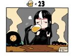 3girls =3 alcohol bare_shoulders beer beer_mug black_hair blush border breasts closed_eyes counter cup detached_sleeves drinking drunk green_skin highres large_breasts long_hair long_sleeves motion_blur mug multicolored_hair multiple_girls neneko_(rariatto) nose_blush noss_(rariatto) original rariatto_(ganguri) rudi_(rariatto) sleeves_past_wrists steam streaked_hair white_border white_hair