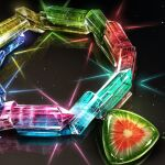 black_background cluseller colorful commentary crystal english_commentary gem hexagram light_particles mixed-language_commentary no_humans original reflection shiny simple_background star_of_david still_life tourmaline