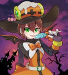 1girl aile belt blush bow brown_hair candy demon_wings dress food gloves green_eyes hair_between_eyes halloween holding holding_candy holding_food holding_lollipop lollipop magical_girl orange_dress orange_gloves robot_ears rockman rockman_x_dive sakuraba_(kirsche_x) short_hair smile solo tongue tongue_out wings witch
