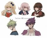 2boys 3girls amami_rantarou antenna_hair bangs black_bow black_shirt blonde_hair blush bow brown_hair collarbone collared_shirt commentary criis-chan cropped_shoulders danganronpa english_commentary facial_hair gem goatee green_eyes green_hair hair_between_eyes hair_bow hair_ornament hair_scrunchie hairclip hand_up harukawa_maki jacket long_hair looking_at_viewer medium_hair mole mole_under_eye momota_kaito multiple_boys multiple_girls nanami_chiaki neck_ribbon new_danganronpa_v3 open_clothes open_jacket pink_eyes pink_ribbon ponytail purple_jacket red_bow red_scrunchie ribbon scrunchie shirt short_hair simple_background smile sonia_nevermind super_danganronpa_2 twintails two-tone_shirt violet_eyes white_background