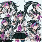 1girl :o \m/ bangs black_hair black_nails black_scrunchie black_skirt blue_hair blush breasts collarbone criis-chan danganronpa ear_piercing eyebrows_visible_through_hair grin jewelry lip_piercing long_hair looking_at_viewer mioda_ibuki mismatched_legwear multicolored_hair nail_polish neckerchief necklace open_mouth piercing pink_eyes pink_hair pleated_skirt ponytail sailor_collar school_uniform scrunchie serafuku shirt short_sleeves simple_background skirt small_breasts smile super_danganronpa_2 symbol_commentary thigh-highs tongue tongue_out torn_clothes twintails upper_teeth w white_hair white_shirt wrist_scrunchie