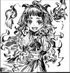1girl ahoge blush blush_stickers choker fangs fiery_hair fingernails fire greyscale hatching_(texture) highres horns long_fingernails long_hair maido_mido monochrome monster_girl open_mouth original pointy_ears puffy_sleeves sharp_fingernails simple_background sketch slit_pupils smile solo stitches teeth tongue white_background