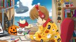 1girl 2020 akira beats_by_dr._dre blue_eyes book bookshelf brown_hair calendar_(object) candy candy_bar cat chin_rest clouds computer desk desk_lamp food halloween headphones highres hiyama_hikaru jack-o'-lantern jingoro_(cat) kimagure_orange_road lamp laptop lck_concept lofi_hip_hop_radio_-_beats_to_relax/study_to manga_(object) matsumoto_izumi_(mangaka) mechanical_pencil mole mole_under_eye ocean paper parody pencil pumpkin scarf short_hair sitting sky window writing