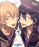 2boys ;d bangs black_hair black_headwear blurry brown_eyes character_request check_character collared_shirt commentary_request cross cross_necklace depth_of_field ensemble_stars! eyebrows_visible_through_hair hair_between_eyes hakaze_kaoru hat headset jacket jewelry light_brown_hair looking_at_viewer male_focus mashima_shima microphone multiple_boys necklace one_eye_closed open_clothes open_jacket open_mouth peaked_cap purple_shirt red_eyes sakuma_rei_(ensemble_stars!) shared_speech_bubble shiny shiny_hair shirt single_earring smile speech_bubble translation_request triangle twitter_username upper_body upper_teeth