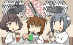 3girls adapted_turret ahoge alternate_costume bangs blunt_bangs brown_eyes brown_hair cake cannon chair commentary_request dated drink drinking_straw folded_ponytail food grey_hair hamu_koutarou headband highres imagining inazuma_(kantai_collection) kantai_collection kasumi_(kantai_collection) kishinami_(kantai_collection) long_hair multiple_girls short_hair side_ponytail sipping sitting sweater table turret upper_body wavy_hair white_headband white_sweater