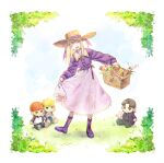 1girl artoria_pendragon_(all) boots dress dress_lift emiya_shirou fate/stay_night fate_(series) full_body hat illyasviel_von_einzbern kinkan_(rerorero_o) kotomine_kirei picnic_basket saber smile straw_hat stuffed_toy white_hair