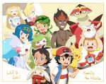 3girls 5boys alolan_form alolan_vulpix antenna_hair ash_ketchum bangs baseball_cap black_hair blonde_hair blue_eyes blue_hair brother_and_sister brown_eyes clenched_teeth collarbone collared_shirt commentary_request dark_skin dark_skinned_male gen_1_pokemon gen_4_pokemon gen_7_pokemon gen_8_pokemon gladion_(pokemon) goh_(pokemon) green_eyes green_hair hair_ornament hairband hand_up haruhi_(xy161027z) hat holding holding_pokemon jewelry kiawe_(pokemon) lana_(pokemon) lillie_(pokemon) long_hair looking_at_viewer mallow_(pokemon) multiple_boys multiple_girls necklace no_sclera on_head open_mouth orange_hair pikachu pokemon pokemon_(anime) pokemon_(creature) pokemon_on_arm pokemon_on_head pokemon_sm_(anime) pokemon_swsh_(anime) primarina raboot rotom rotom_dex shirt shirtless short_sleeves siblings sleeveless sleeveless_jacket sophocles_(pokemon) teeth togedemaru tongue tsareena turtonator twintails undercut vest waving white_shirt