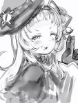 1girl blush from_side gloves greyscale grin hat highres hololive looking_at_viewer looking_to_the_side monochrome murasaki_shion nanashi_(nlo) one_eye_closed simple_background smile solo star_(symbol) upper_body v white_background witch_hat