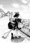 1girl bag broom building cat clouds cluseller commentary_request day dress from_behind full_body gradient_sky greyscale hair_ribbon hand_up heel_up highres holding house jiji_(majo_no_takkyuubin) kiki majo_no_takkyuubin monochrome outdoors outline ribbon road shading_eyes shiny shiny_hair shoes short_hair short_sleeves shoulder_bag sky solo_focus standing traditional_media tree white_outline wide_sleeves