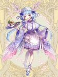 1girl :d bead_bracelet beads blue_bow blue_hair bow bowl bracelet breasts dairoku_youhei dress_bow flower full_body hair_bow hair_ornament hi-na1 holding holding_tray horns jewelry large_breasts long_hair long_sleeves looking_at_viewer low_twintails official_art open_mouth pink_bow platform_footwear sandals simple_background smile solo standing tray twintails very_long_hair waitress white_headwear white_legwear wide_sleeves