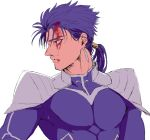 1boy armor beads biceps blood blood_on_face blue_hair cu_chulainn_(fate)_(all) earrings fate/stay_night fate_(series) hair_beads hair_ornament highres jewelry lancer long_hair looking_to_the_side male_focus muscle pauldrons ponytail red_eyes shoulder_armor simple_background skin_tight solo spiky_hair tikarawaza type-moon white_background